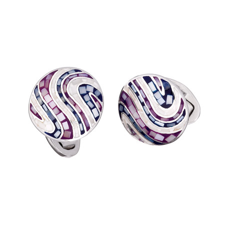 Round Multi-Tile // Tonal Purple Cufflinks