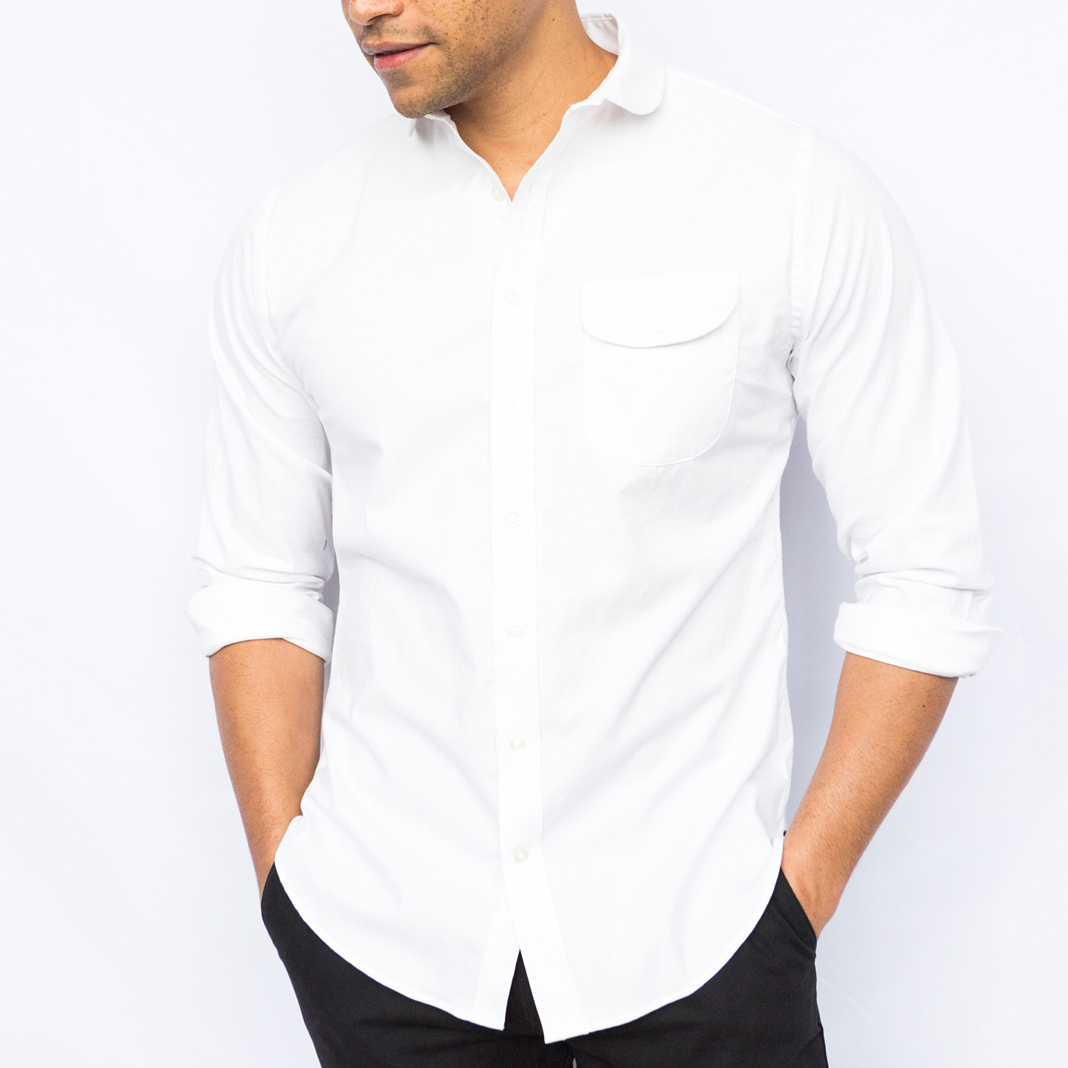 Oxford Round Collar Shirt White S Elk Head Clothing Touch