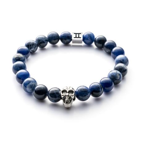 Classic Collection Bracelet // Blue + Skull // 8mm