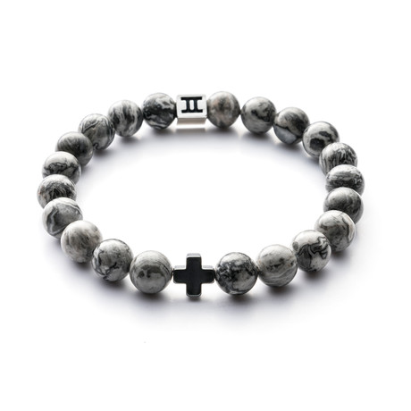 Classic Collection Bracelet // Grey + Cross // 8mm (S)