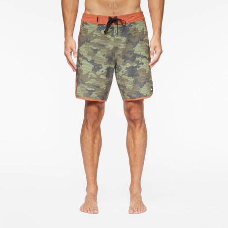 Highland Pool Shorts // Washed Camo + Coastal Orange (S)