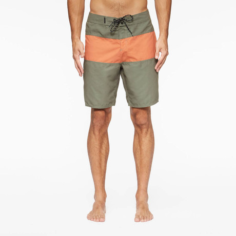 Spectrum Pool Shorts // Fatigue Green + Coastal Orange (S)