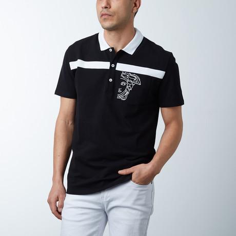 Single Stripe Logo Polo // Black + White