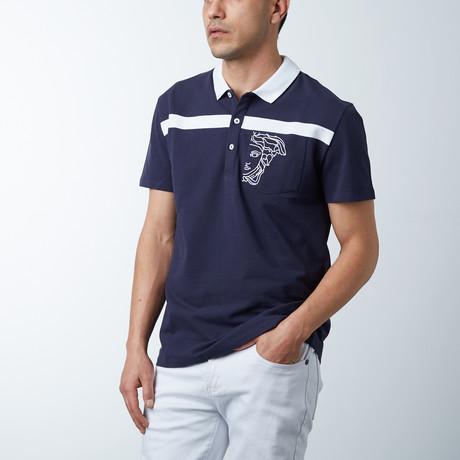 Single Stripe Logo Polo // Blue + White (S)