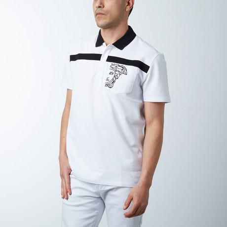 Single Stripe Logo Polo // White + Black (S)