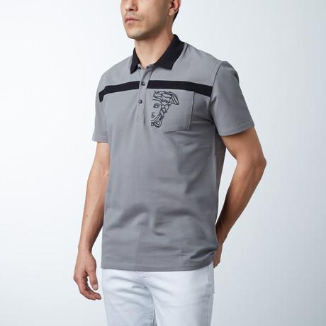 Single Stripe Logo Polo // Gray + Black (S)