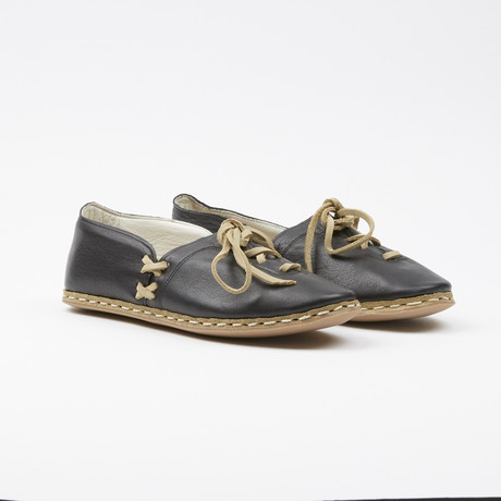 Laced Leather Espadrilles // Anthracite Black (US: 7.5)