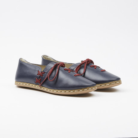 Laced Leather Espadrilles // Navy Blue (US: 7.5)