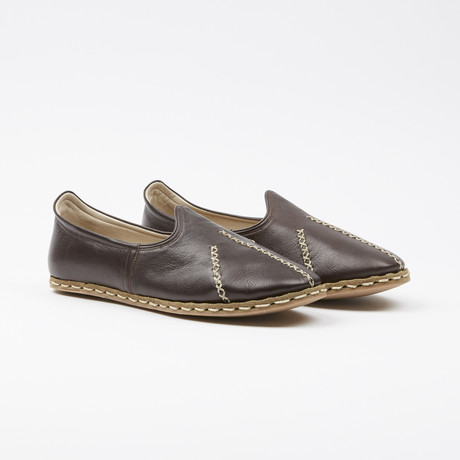 Ribbed Leather Espadrilles // Espresso Brown