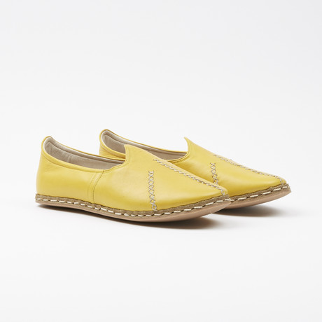 Ribbed Leather Espadrilles // Mustard Yellow (US: 7.5)