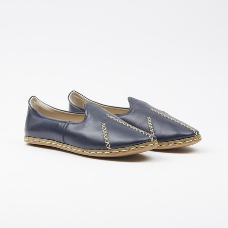 Ribbed Leather Espadrilles // Navy Blue (US: 7.5)