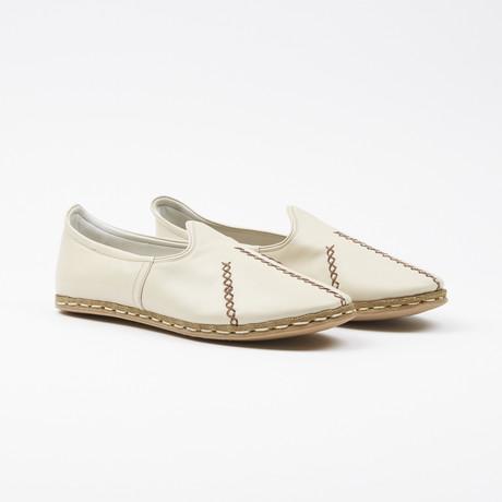 Ribbed Leather Espadrilles // Sandshell White (US: 7.5)