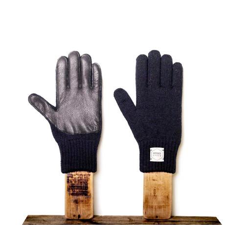 Melange Full Glove + Black Deerskin // Navy