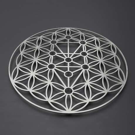 Flower of Life Kabbalah Tree 3D Metal Wall Art