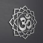 "Om Symbol Lotus Mandala 3D Metal Wall (30""W x 30""H x 0.25""D)"