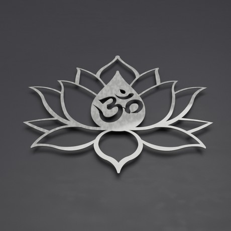 "Om Symbol Lotus Flower 3D Metal Wall Art (24""W x 20.5""H x 0.25""D)"