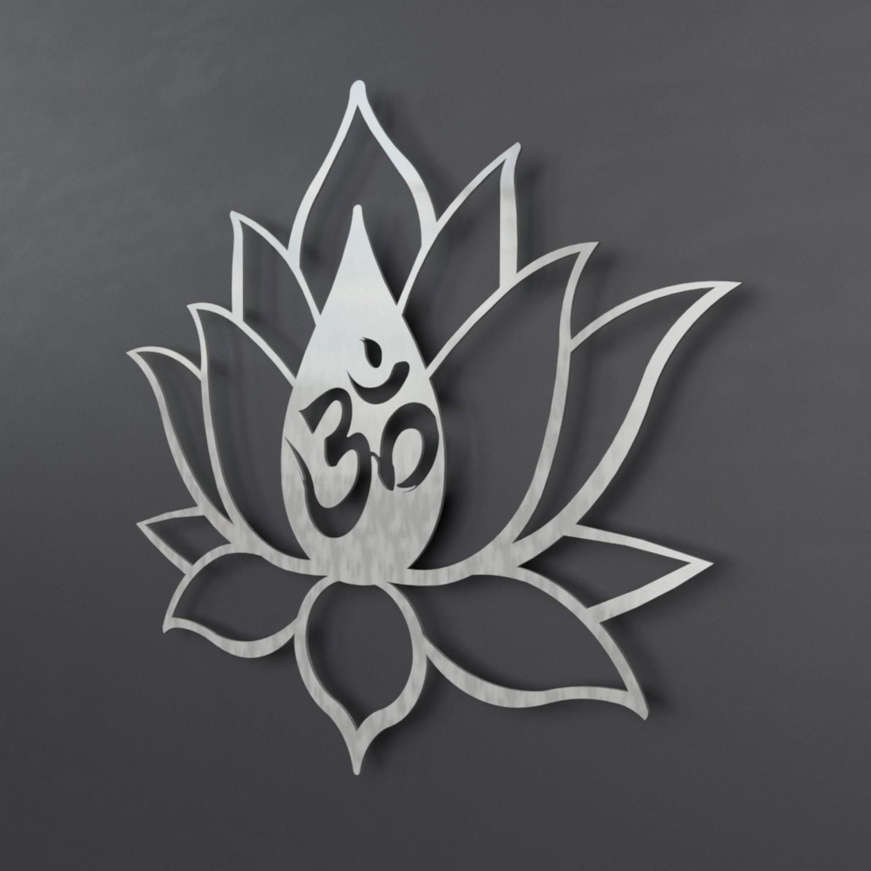 Xl om symbol lotus flower 3d metal wall art arte and metal touch xl om symbol lotus flower 3d metal wall art mightylinksfo