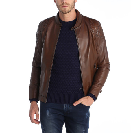 Flagstick Leather Jacket // Brown (S)