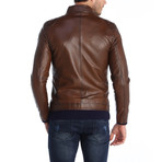 Flagstick Leather Jacket // Brown (XL)