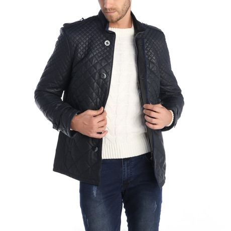 Vector Leather Jacket // Navy (M)