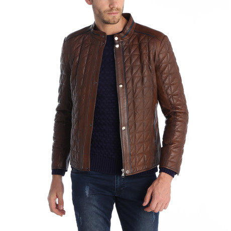 Flagstick II Leather Jacket // Brown (S)
