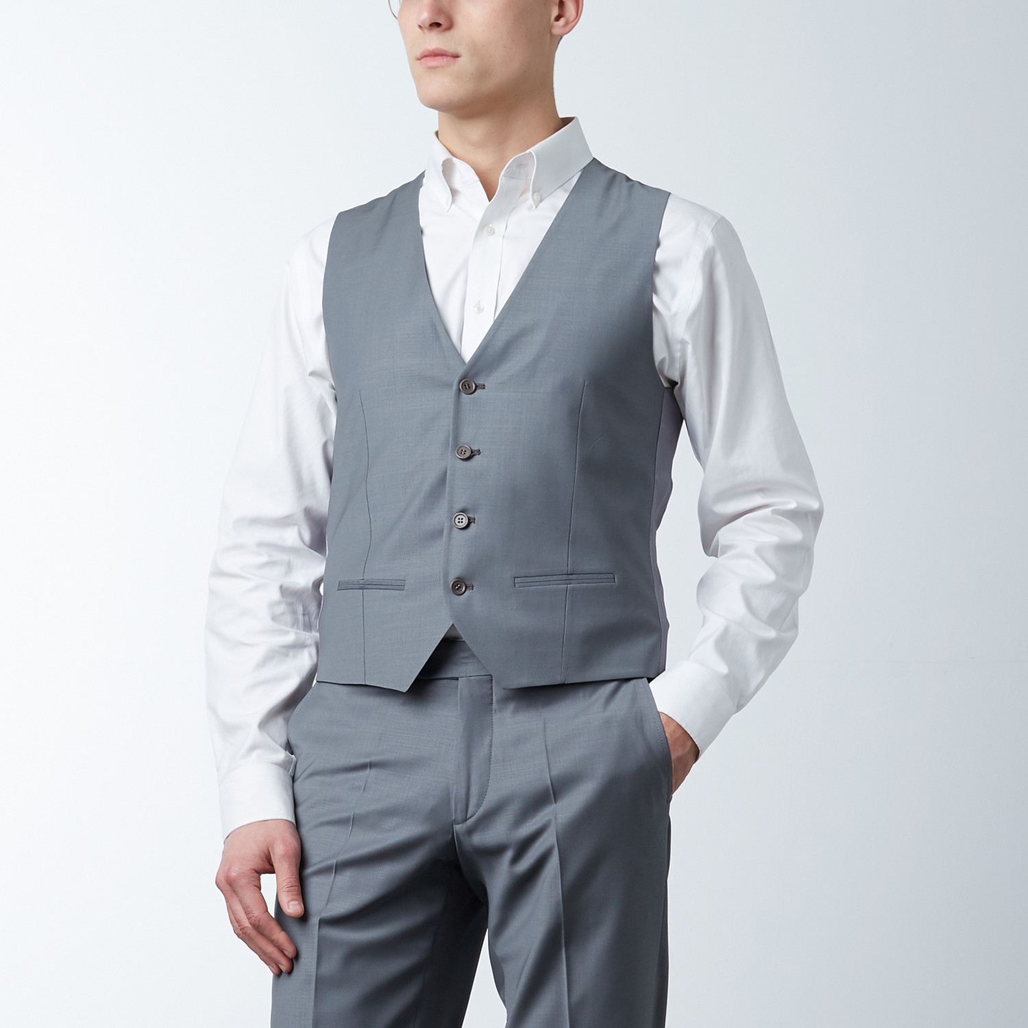 Sharkskin Slim Fit Super 3-piece Lux Suit // Dim Grey (US: 44R ...