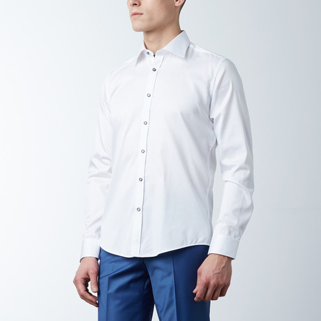 Slim Fit Premium Cotton Shirt // White, Dark Navy