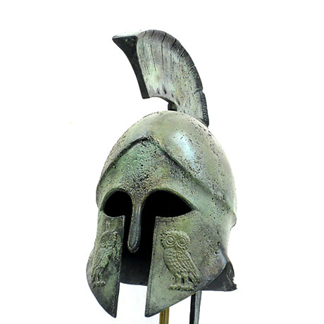 Athenian Hoplite Full Size Helmet // Engraved Owl (Without Stand)