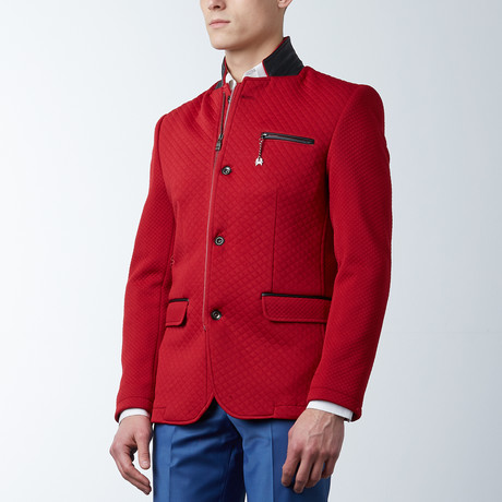 Quilted Zip Button Jacket // Red