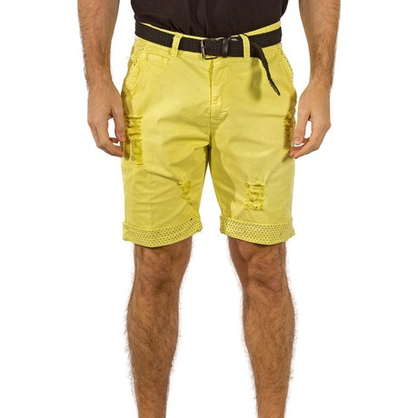Pleated Printed Trim Ripped Shorts // Yellow