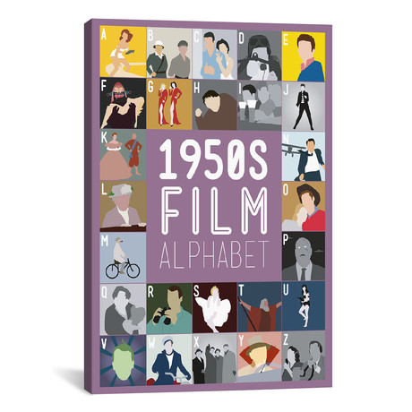 "1950s Film Alphabet (26""W x 18""H x 0.75""D)"