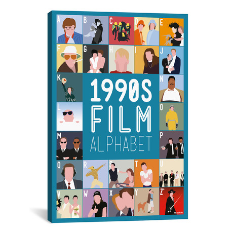 "1990s Film Alphabet (26""W x 18""H x 0.75""D)"