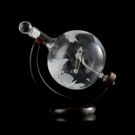 Airplane Globe Decanter Set + 2 Cups