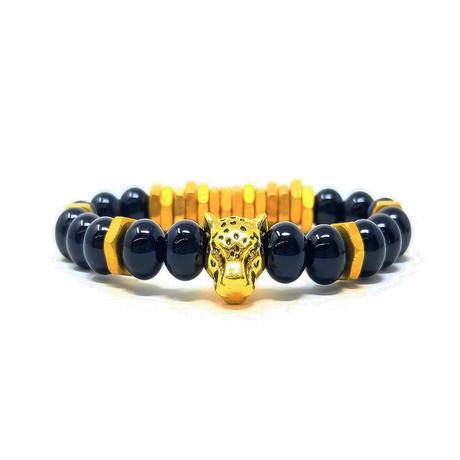 Black Panther Agate Gold Bracelet (Size 7)