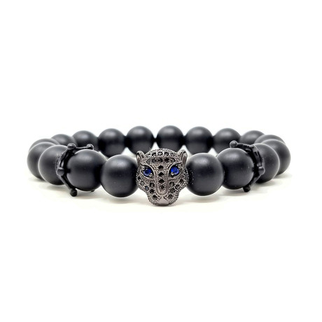 Black Panther Agate Crown Bracelet (Size 7)