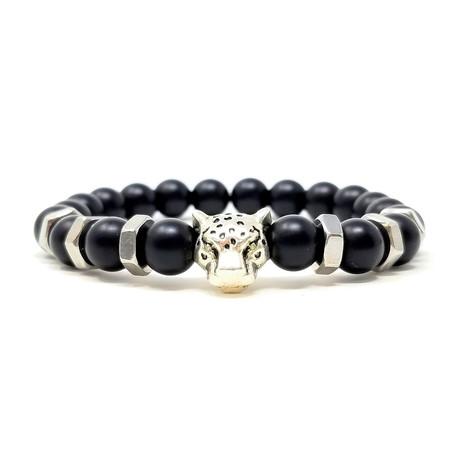 Black Panther Agate Silver Bracelet 2 (Size 7)