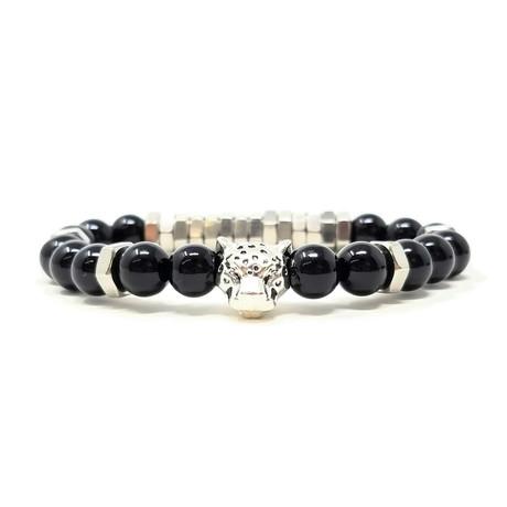 Black Panther Agate Silver Bracelet (Size 7)