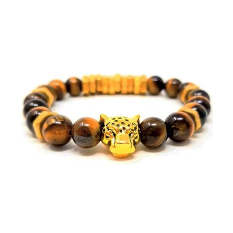 Black Panther Tiger Eye Gold Bracelet (Size 7)