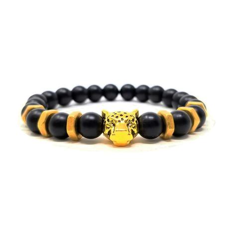 Black Panther Agate Gold Bracelet 2 (Size 7)