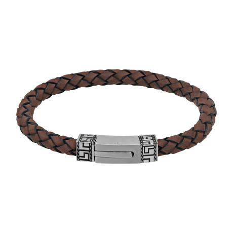 Brown Leather Bracelet + Steel Greek Key Clasp