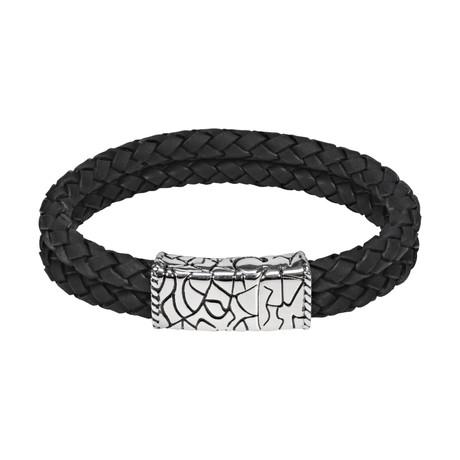 """Double Row Leather Bracelet // Black (7.5""""L)"""