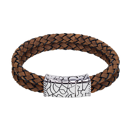 Double Row Leather Bracelet // Brown