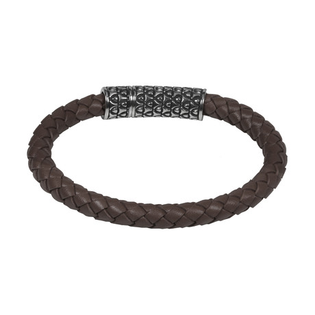 Brown Leather Bracelet + Steel Clasp