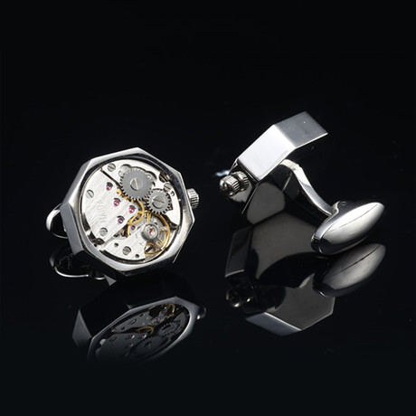 Quartz Watch Cufflinks // Silvertoned