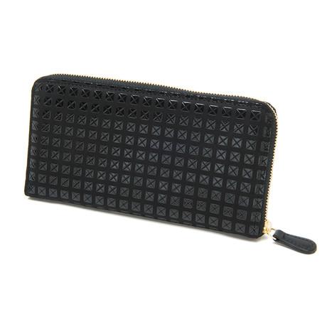 Zipped Long Wallet // Studs (Black + Black)