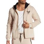 Fleece Jacket + Gold Zipper // Beige (S)
