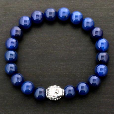 Buddha Agate Beaded Bracelet // Blue + Silver