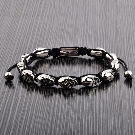 Polished Stainless Steel Skull Beaded Bracelet // Silver + Black
