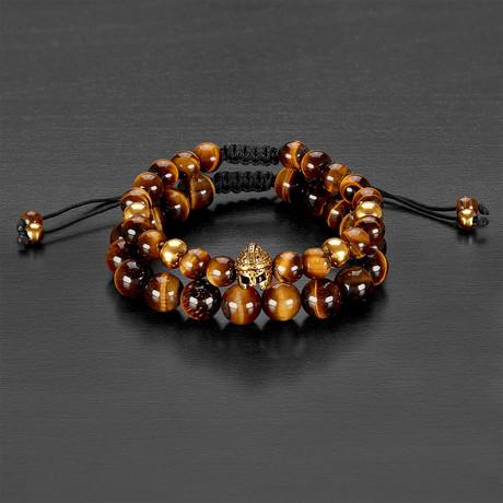 Stainless Steel Spartan Helmet + Polished Tiger Eye Natural Stone Bracelet Set // Gold + Brown