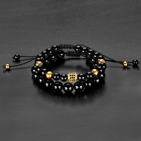 Stainless Steel Bead + Agate Natural Stone Bracelet Set // Black + Gold